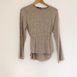 FashionNova long sleeve sweater waist tie cream S